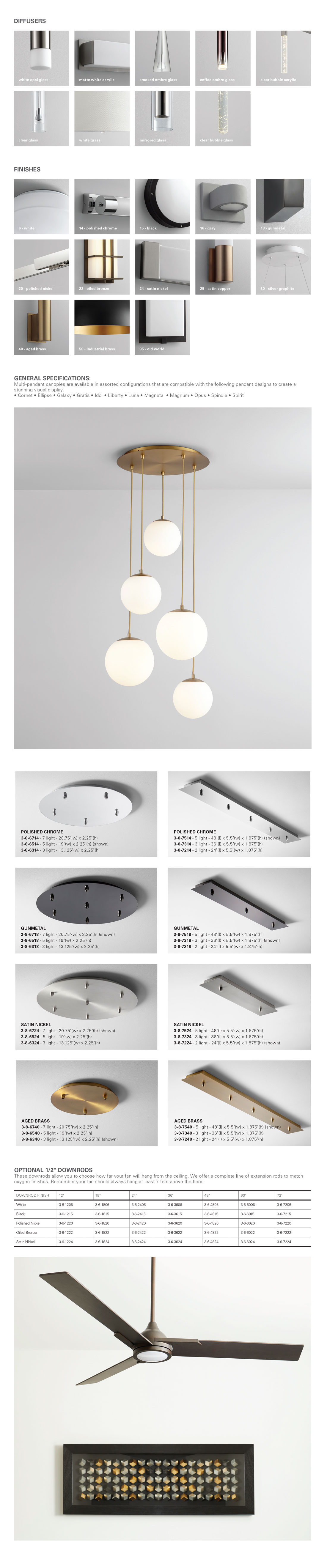 available finishes and diffuser options for oxygen lighting products